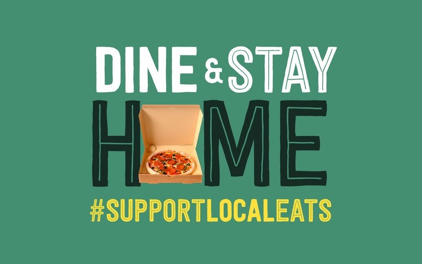 Dine and stay home logo with pizza box
