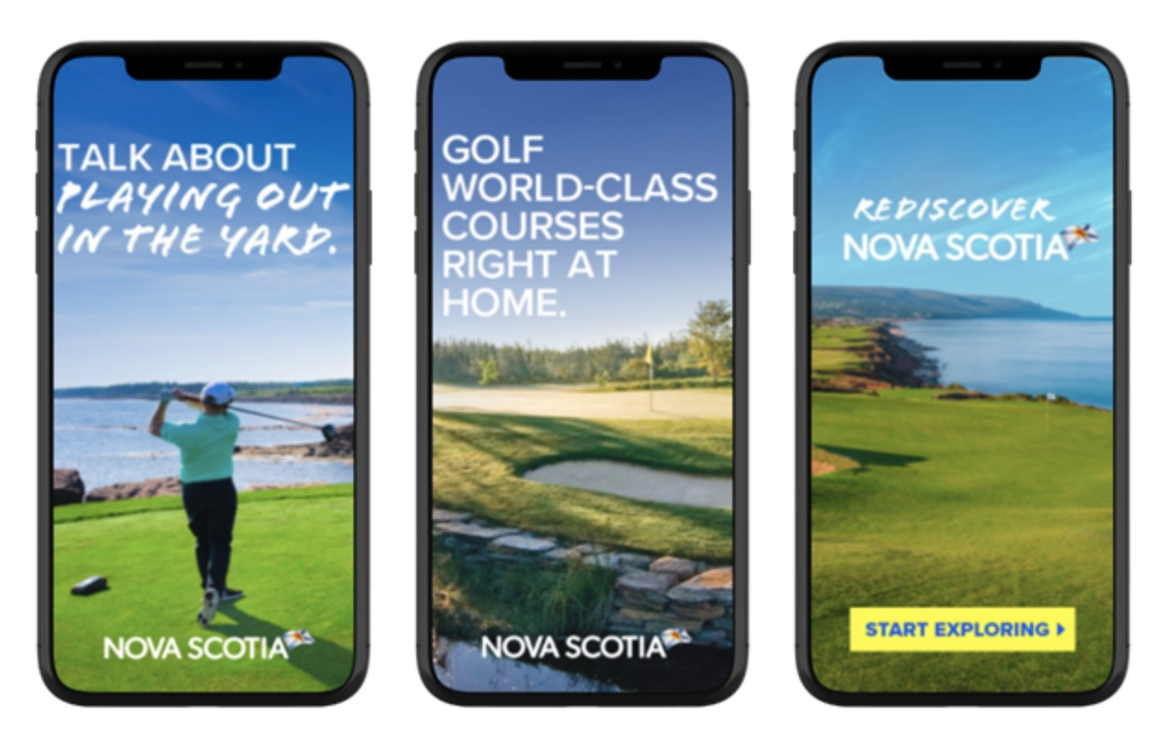 Ads featuring golf on mobile phones.