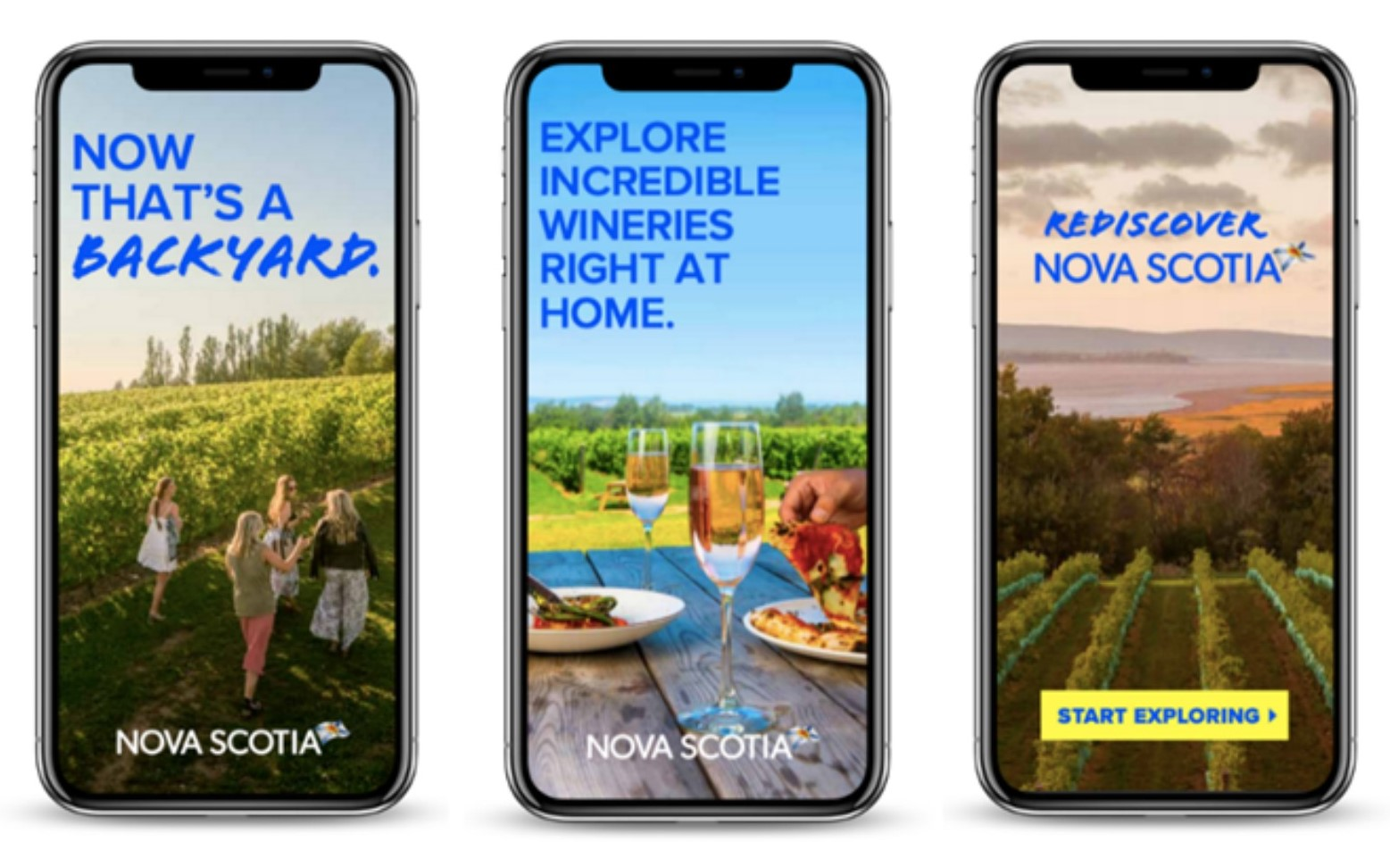 Three Tourism Nova Scotia ads featuring wineries and lobster shown on mobile phones.