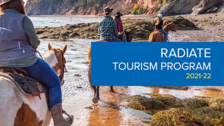 Line of people riding horses on the beach. Text reads: RADIATE Tourism Program 2021-22