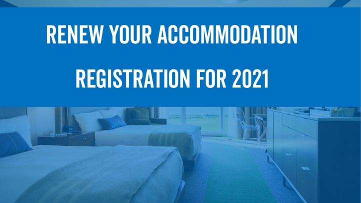 Two beds in a hotel room. Text reads: Renew your accommodation registration for 2021