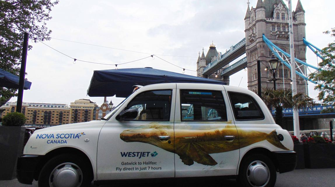 WestJet and Nova Scotia co-branded London Taxi