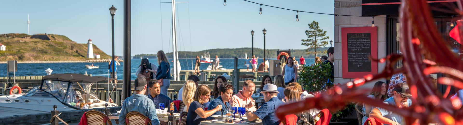 Waterfront restaurants in downtown Halifax.
