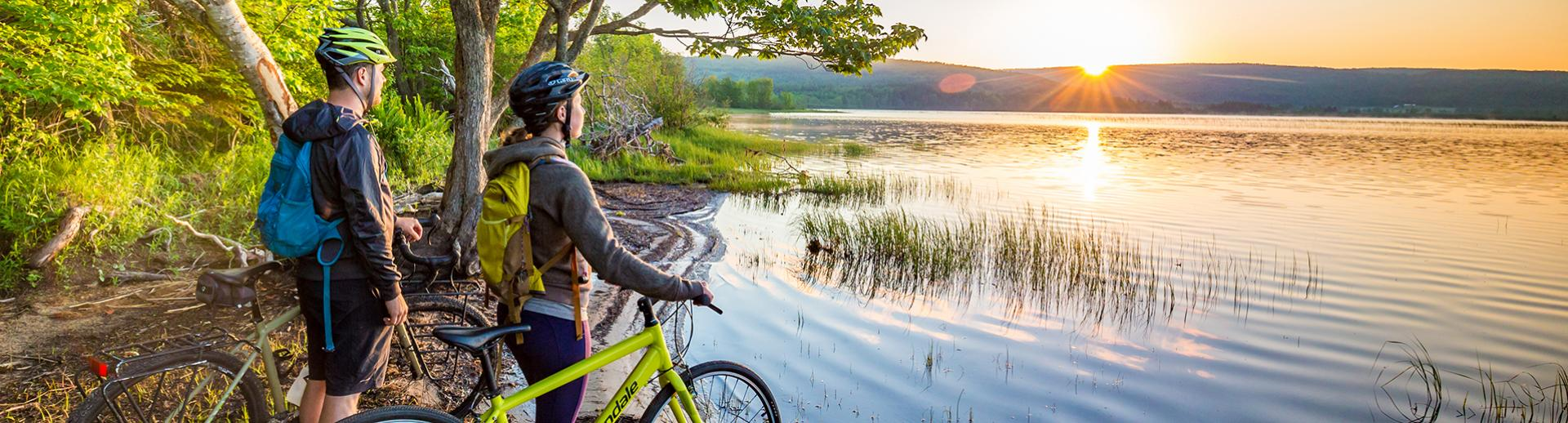 Cycling at sunset in Nova Scotia
