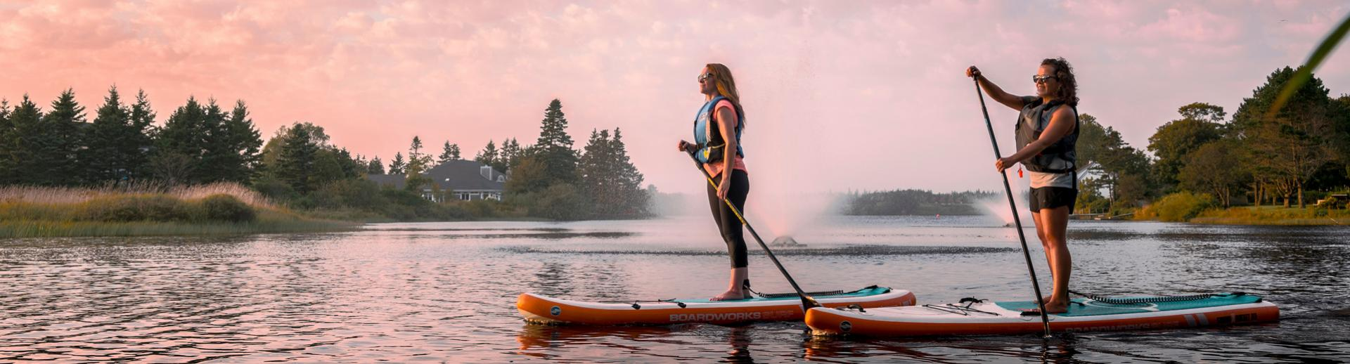 Paddleboarding in Lake Milo in Yarmouth, Nova Scotia