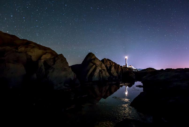 Night sky at Cape Forchu Lightstation.