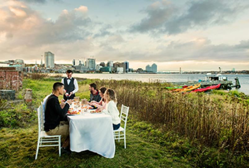 Dining and glamping on Georges Island in the Halifax Harbour with Kayak Halifax