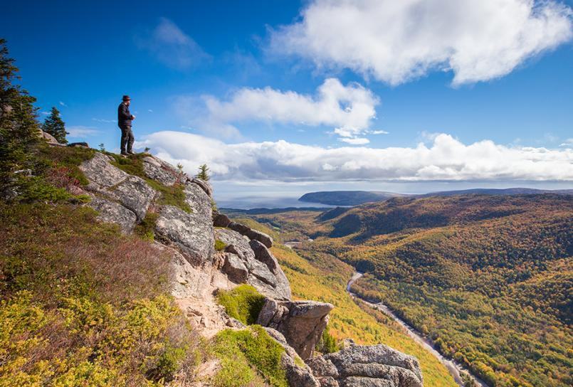 Hiker on the Franey Trail in the Cape Breton Highlands National Park.