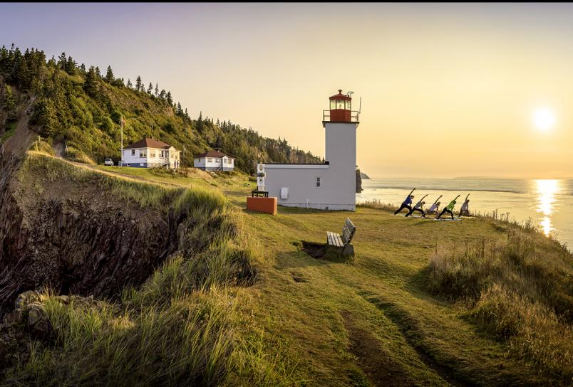 Fundy Sunrise & Yoga experience at Cape d'Or Lighthouse with NovaShores Adventures