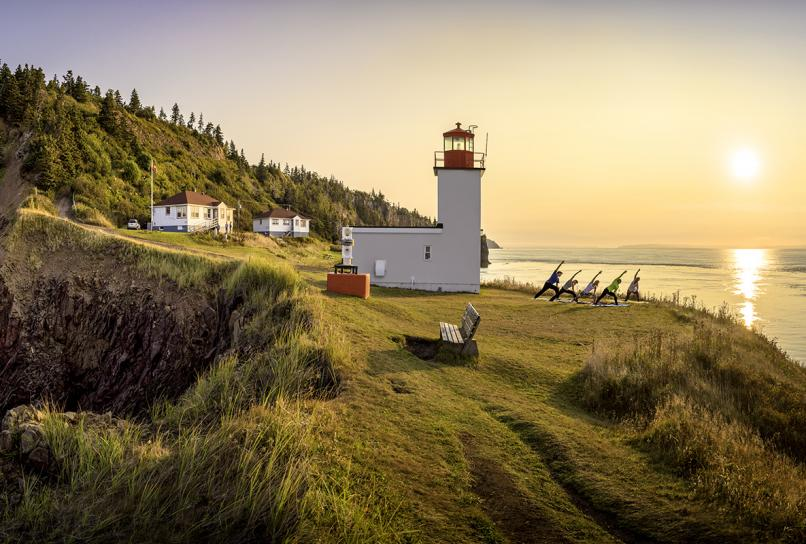 Yoga at Cape d'Or Lighthouse on Nova Scotia's Bay of Fundy.