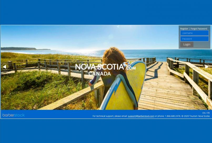TNS digital library landing page. Includes image of woman on boardwalk with a surfboard.