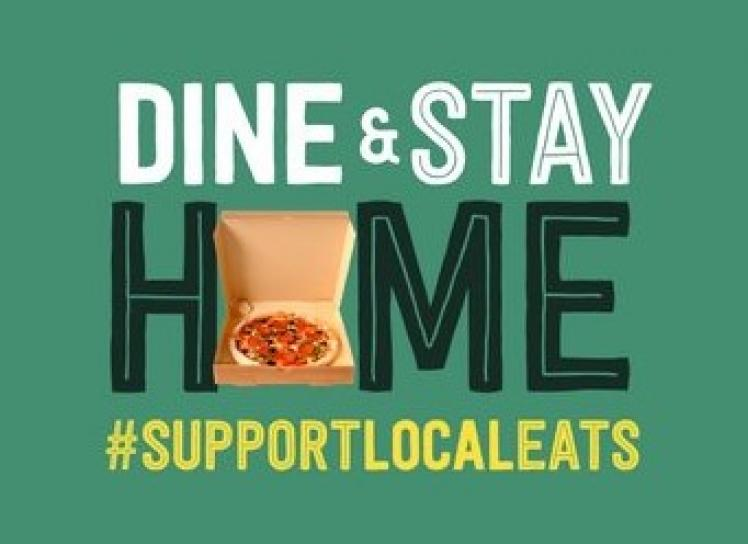 Dine-in and Stay Home logo with pizza box