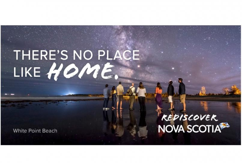 There's No Place Like Home. Group on the beach under a starry sky.